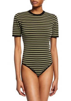 Michael Kors Collection Short-Sleeve Striped Bodysuit