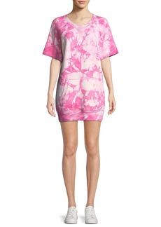 Michael Kors Collection Short-Sleeve Tie-Dye Cashmere Sweatshirt Dress