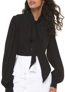 Michael Kors Collection Silk Bowed Long-Sleeve Blouse