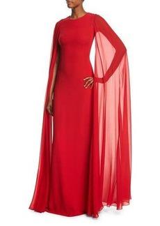 Michael Kors Collection Silk Crepe Chiffon Cape Gown