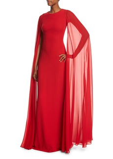Michael Kors Collection Silk Crepe Chiffon Cape Gown