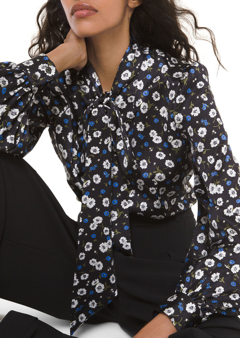 Michael Kors Collection Silk Floral-Print Bowed Long-Sleeve Blouse