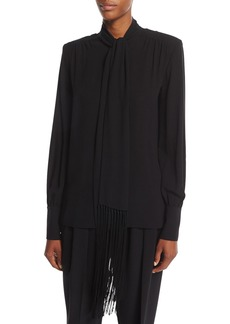 Michael Kors Collection Silk Georgette Fringed Scarf Blouse