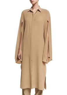 Michael Kors Collection Silk Georgette Slit-Sleeve Midi Shirtdress