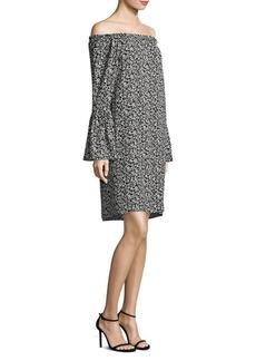 Michael Kors Off-The-Shoulder Bell-Sleeve Silk Dress