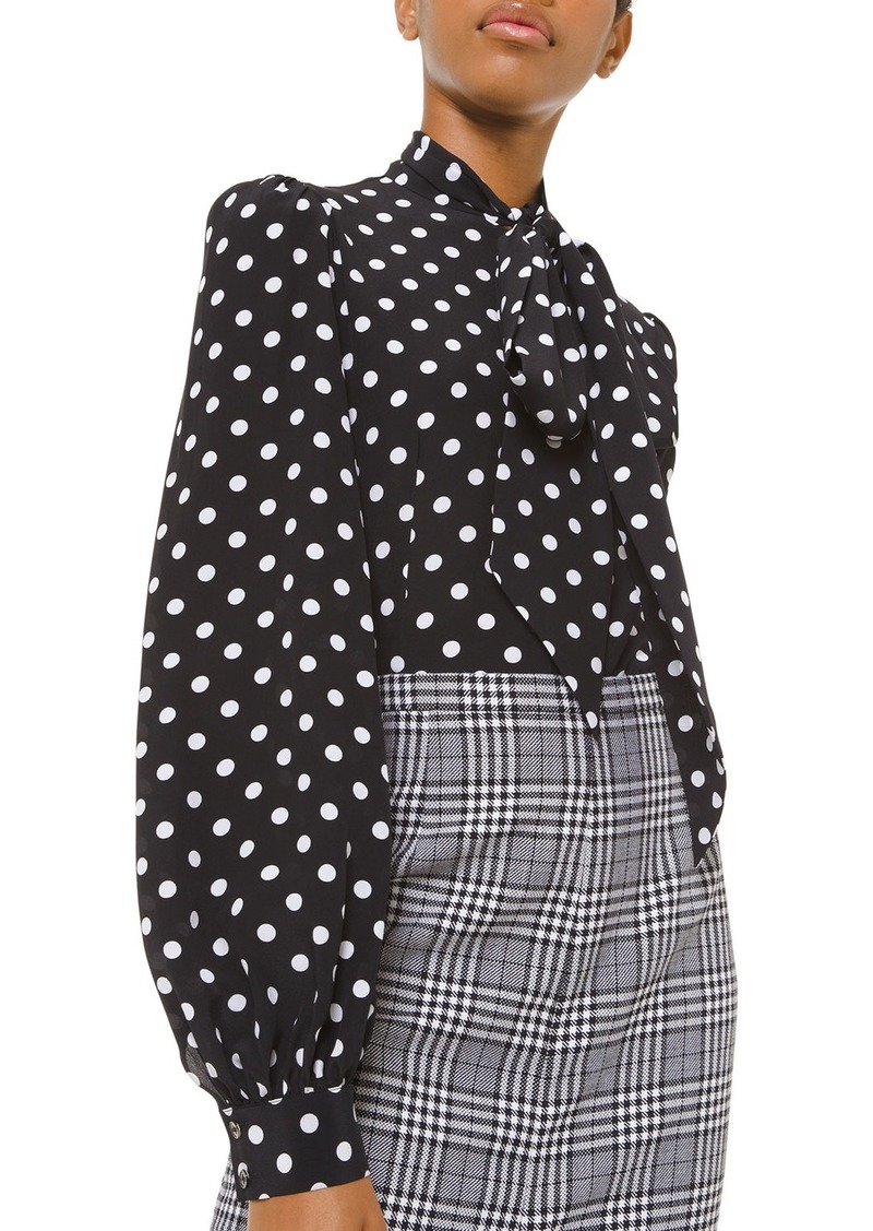Michael Kors Collection Silk Polka-Dotted Bowed Long-Sleeve Blouse