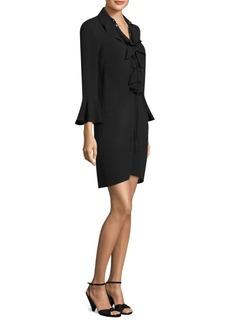 Michael Kors Ruffle Bell-Sleeve Silk Dress