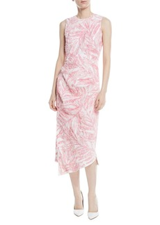 Sleeveless Beaded Palm-Print Linen Dress