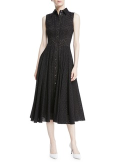 Michael Kors Collection Sleeveless Button-Front Fit-and-Flare Cotton Eyelet Shirtdress