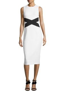 Michael Kors Collection Sleeveless Contrast X Sheath Dress
