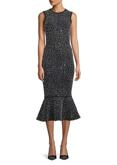Michael Kors Collection Sleeveless Crystal-Embroidered Stretch-Viscose Trumpet Cocktail Dress