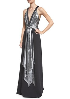 Michael Kors Sleeveless Draped-Front Gown