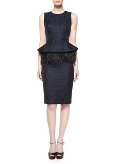 Michael Kors Sleeveless Feather-Peplum Sheath Dress