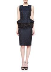 Michael Kors Sleeveless Feather-Peplum Sheath Dress