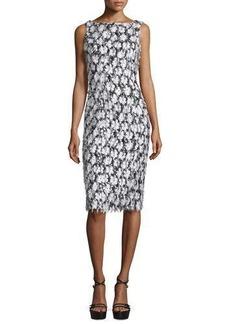Michael Kors Collection Sleeveless Floral-Embellished Sheath Dress