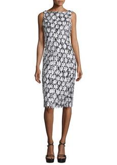 Michael Kors Sleeveless Floral-Embellished Sheath Dress