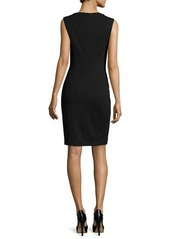 Michael Kors Sleeveless Leather-Panel Sheath Dress