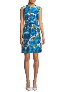 Michael Kors Sleeveless Rose-Jacquard Bow-Belt A-Line Dress