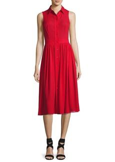 Michael Kors Collection Sleeveless Silk Georgette Shirtdress