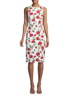 Michael Kors Collection Sleeveless Stemmed-Rose Print Stretch-Cady Sheath Dress