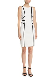 Michael Kors Collection Sleeveless Stretch-Boucle Crepe Dress w/ Leather Trim