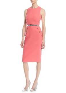 Michael Kors Collection Sleeveless Stretch-Boucle Crepe Sheath Dress w/ Belt