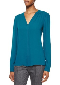 Michael Kors Split-Neck Long-Sleeve Blouse