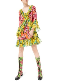 Michael Kors Collection Sprint-Sunflower Georgette Ruffled Flare Sleeve Dress