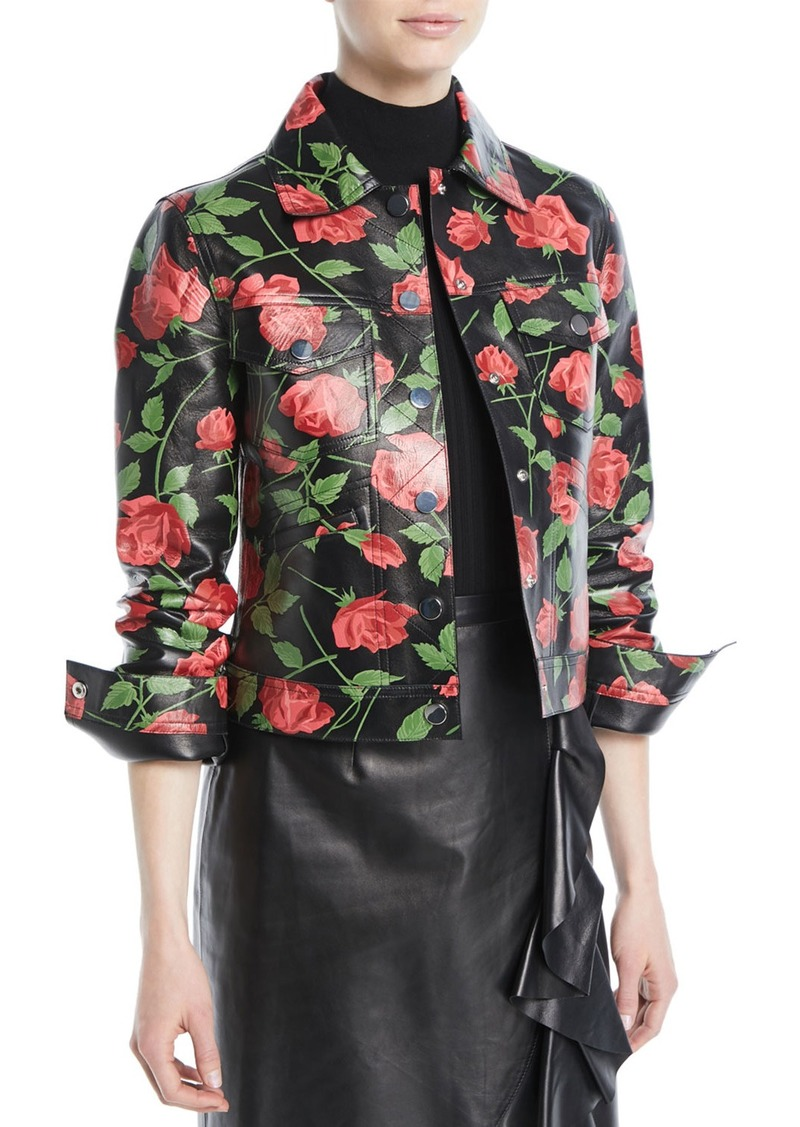 Michael Kors Collection Stemmed Rose-Print Plonge Lamb Leather Jacket