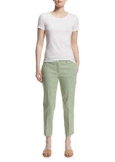 Michael Kors Straight-Leg Gingham Cropped Pants