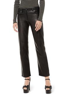 Michael Kors Collection Straight-Leg Leather Pants