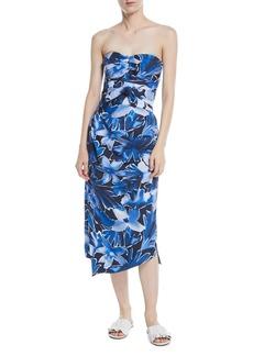 Michael Kors Collection Strapless Tie-Waist Floral-Print Draped Silk Dress