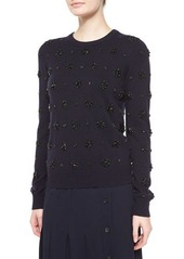 Michael Kors Stretch-Cashmere Long-Sleeve Embellished Sweater