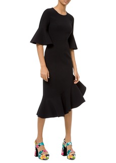 Michael Kors Collection Stretch Wool Crepe Flounce Dress
