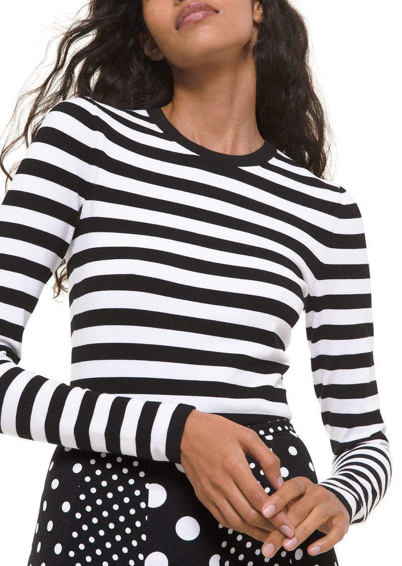 Michael Kors Collection Striped Long-Sleeve Bodysuit