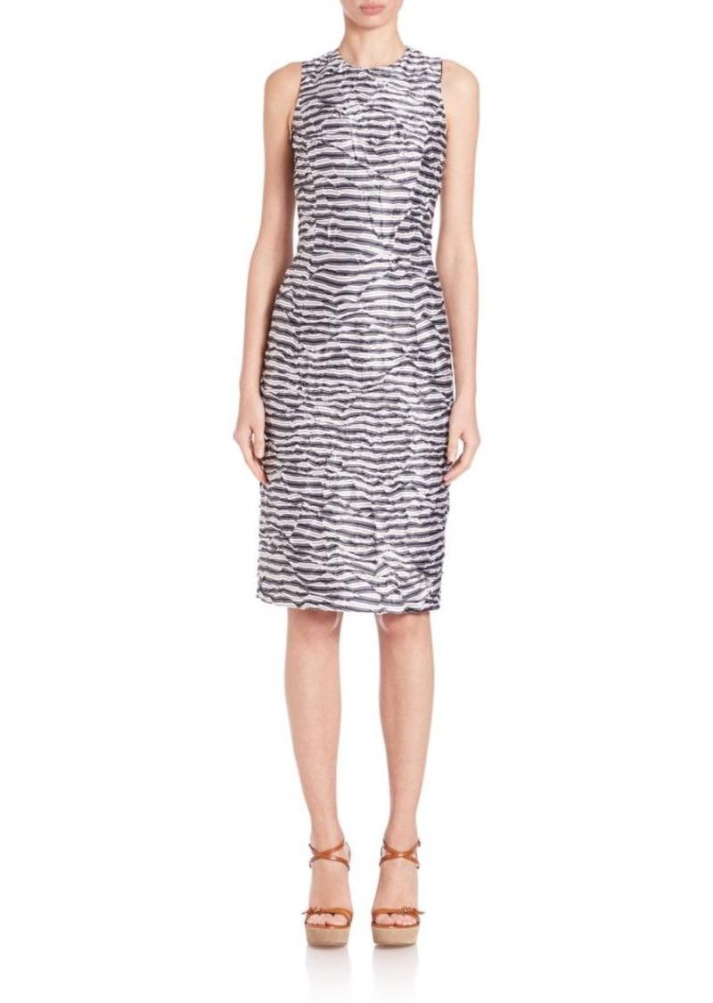 Michael Kors Collection Striped Silk Sheath Dress