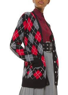 Michael Kors Collection Studded Argyle Boyfriend Cardigan