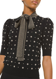 Michael Kors Collection Studded Cashmere Tie-Neck Sweater