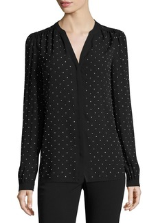 Michael Kors Collection Studded Georgette Split-Neck Blouse