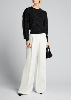Michael Kors Collection Studded Pleated-Sleeve Wool Sweater