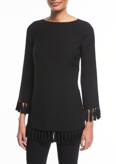 Michael Kors Tassel-Trim Wool Crepe Tunic Top