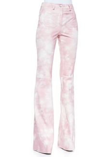 Michael Kors Tie-Dye Leather Bell-Bottom Pants