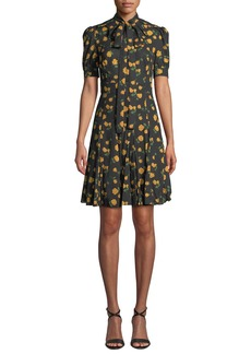 Michael Kors Collection Tie-Neck Short-Sleeve Rose-Print Georgette Day Dress