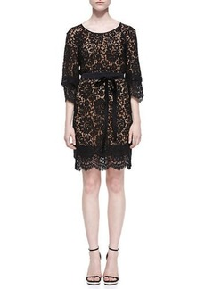 Michael Kors Collection Tie-Waist Scalloped Lace Dress