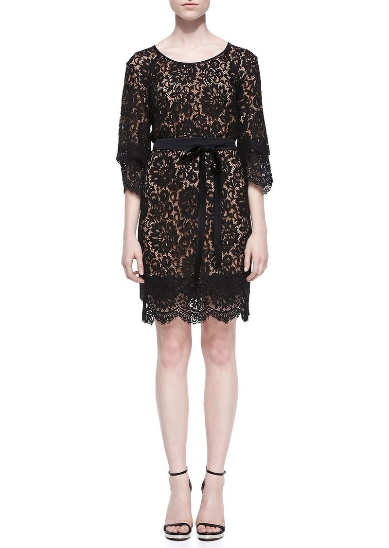 Michael Kors Tie-Waist Scalloped Lace Dress