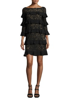 Michael Kors Collection Tiered 3/4-Sleeve Lace Dress