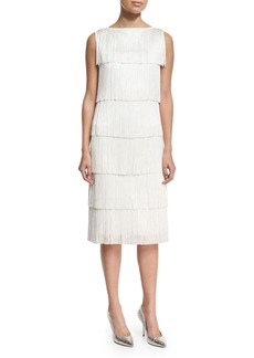 Michael Kors Collection Tiered Fringe Flapper White