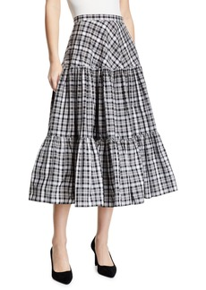 Michael Kors Collection Tiered Madras Midi Skirt