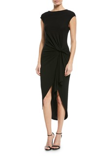 Michael Kors Collection Twisted Cap-Sleeve Jersey Midi Dress