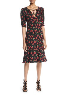Michael Kors Collection V-Neck Rose-Print Silk Georgette Dress